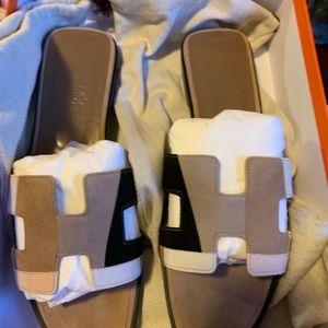Hermès Suede Oran Sandals